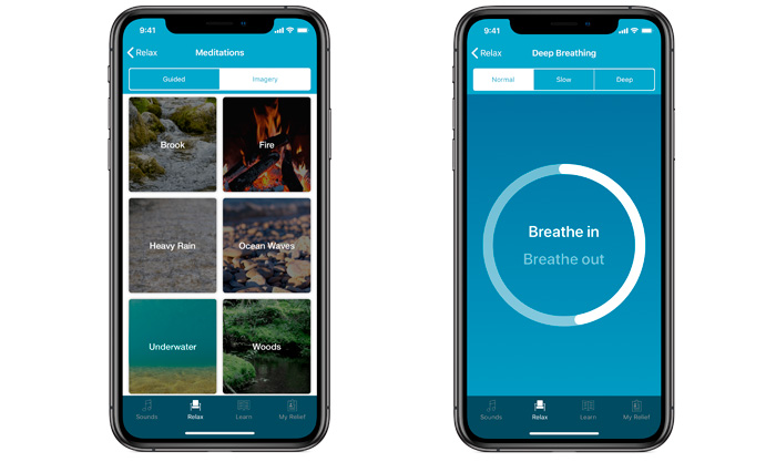 Schermata dell'app ReSound Relief: strategie di adattamento.