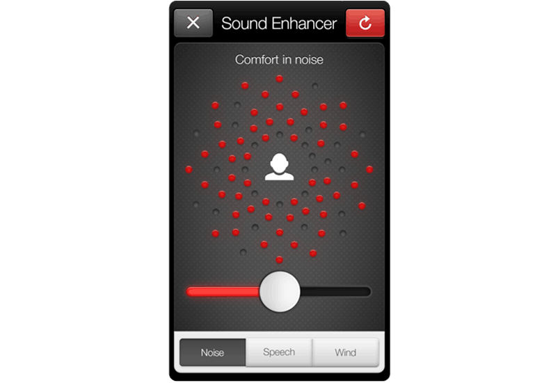 ReSound Smart app screen: comfort in noise.
