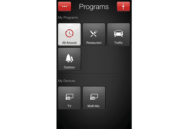 ReSound Smart app screen: change program.