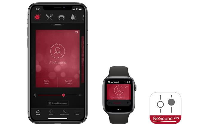ReSound Smart app on compatible devices iPhone and iWatch
