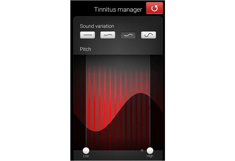 ReSound Smart app screen: Tinnitus manager modulation adjustment.
