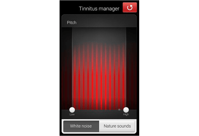 ReSound Smart app screen: Tinnitus manager pitch adjustment.