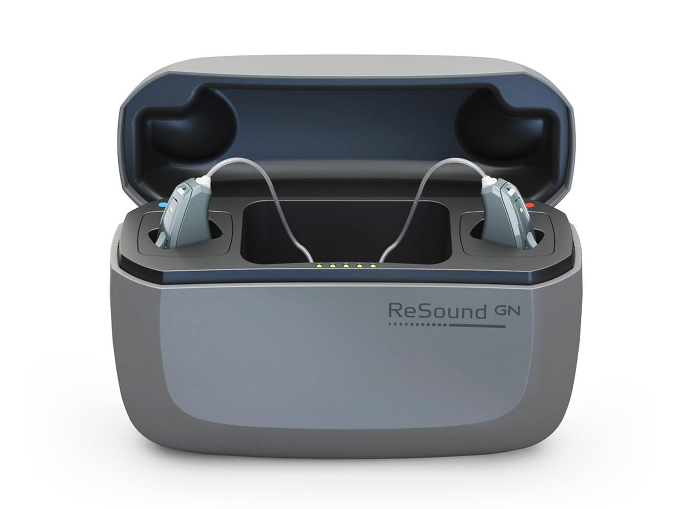 Intuitive and easy to use ReSound LiNX Quattro hearing aid in a charger