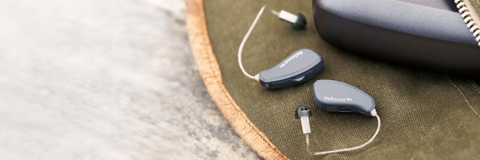 ReSound LiNX Quattro with Charger on canvas bag
